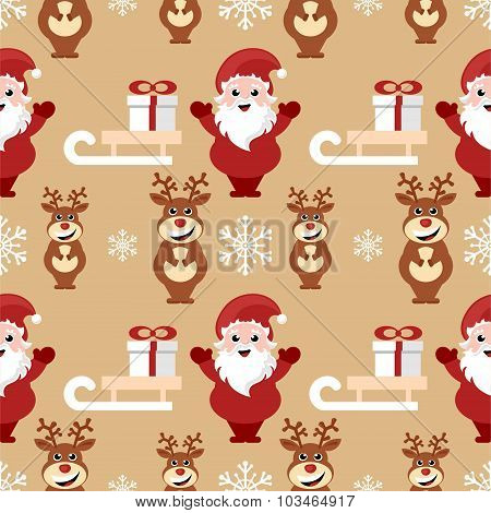 repeating pattern with santa claus, reindeer and sledge