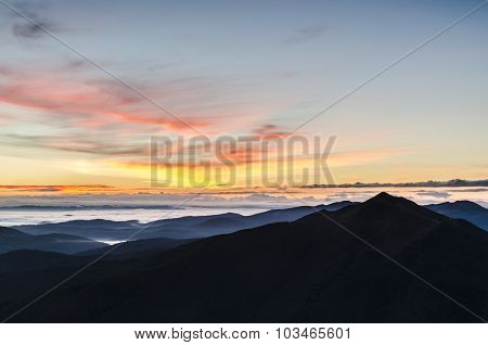 Amazing sunrise in the mountains