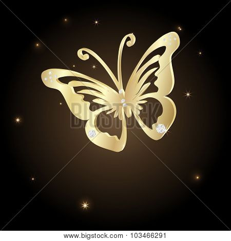 Gold Lace Butterfly On Brown Background