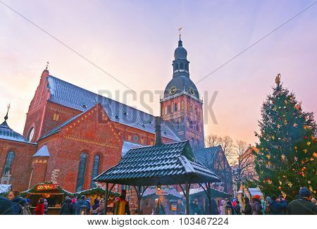 Christmas Market At Dome Square In Riga