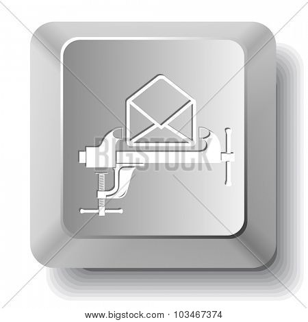 open mail with clamp. Vector computer key.