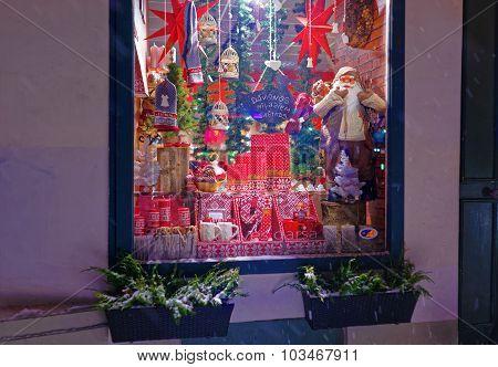 Christmas Window Display With Seasonal Gifts