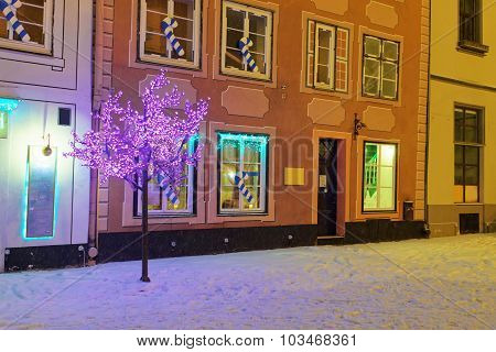Romantic And Cozy Atmosphere Of A Medieval Old Riga At Christmas Night