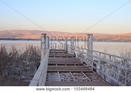 Old Metal Pier On The Kineret Lake, Israel. Middle East.