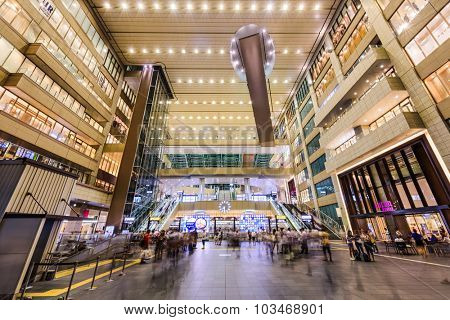 OSAKA, JAPAN - AUGUST 20, 2015: Osaka Station main hall. It is considered the fourth busiest station in the world.