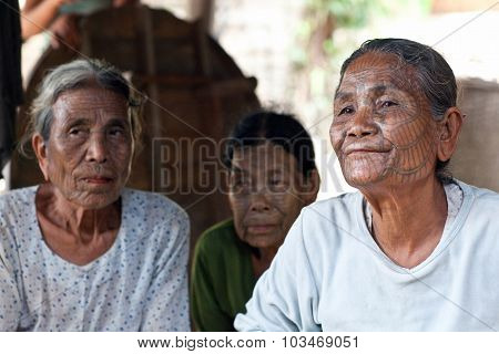 Chin Tribe Tattoed Women, Myanmar