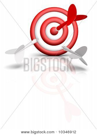 Darts And Target Isolated On White