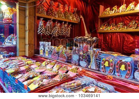 Traditional Souvenirs At The European Christmas Market In Old Riga