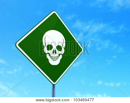 Health concept: Scull on road sign background