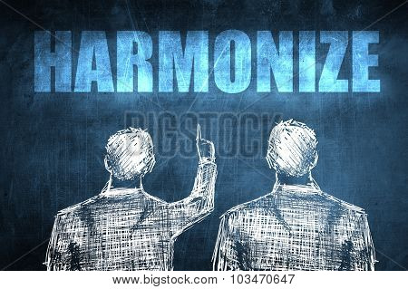 Two Successful Businessman Showing Harmonize, Business Concept