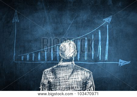 Sketch Successful Businessman Concept, Rising Chart