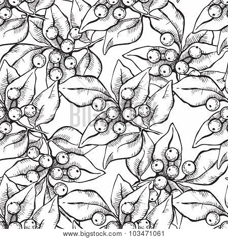 Vector Seamless Christmas Hand Draw Pattern With Ink Mistletoe Illustation