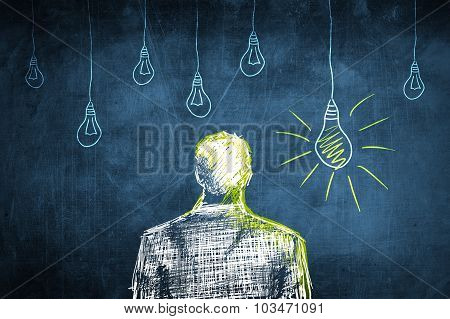 Sketch Successful Businessman Concept, Idea Light Bulb
