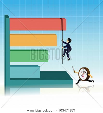 Businessman Climbing rope on the graph against escape time.