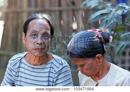 Chin tribal women, Myanmar