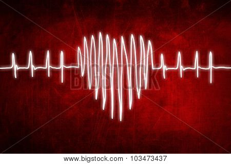 Cardiogram Chart Heartbeat, Hand Drawing Sketch