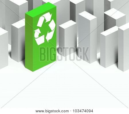 3D Recycle Symbol In Conceptual Model Of City With Distinctive Skyscraper