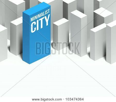 3D Minimalist City Conceptual Model Of Downtown With Distinctive Skyscraper