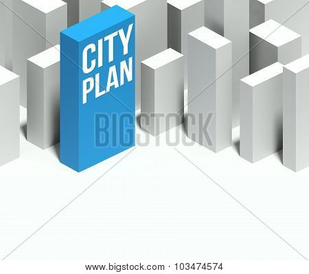 3D City Plan Conceptual Model Of Downtown With Distinctive Skyscraper