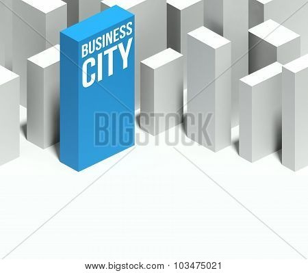 3D Business Center Conceptual Model Of City With Distinctive Skyscraper