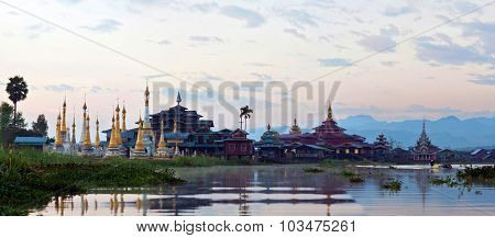 Ancient Pagoda And Monastery On Inle Lake, Myanmar
