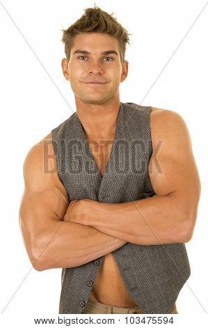 Man In Vest No Shirt Arms Folded Smile