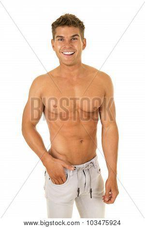 Shirtless Strong Man Denim Pants Smiling