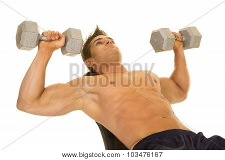 Shirtless Strong Man Lay Back Dumbell Press