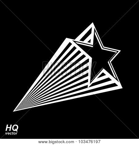 Vector celestial object, pentagonal comet star illustration. Graphical stylized comet tail. Military