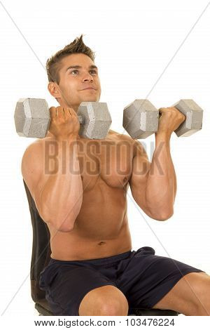 Shirtless Strong Man Press Weights