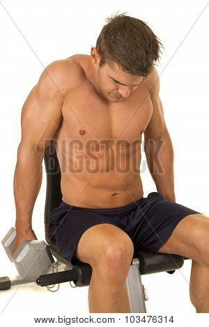 Shirtless Strong Man Seated Shrug