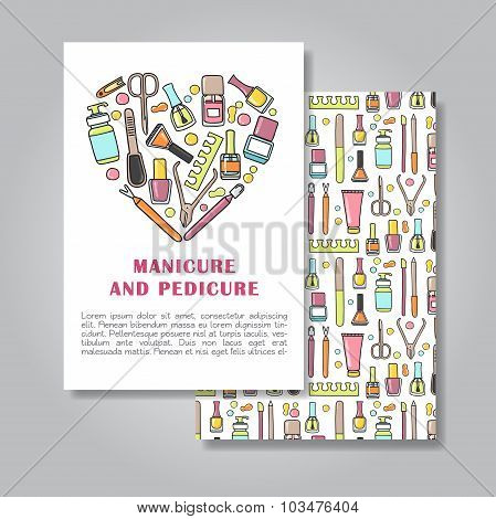 Two sides invitation card design with manicure and pedicure illustration background. Vector design template for card letter banner flyer.