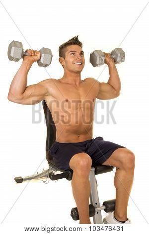 Shirtless Strong Man Sit Shoulder Press