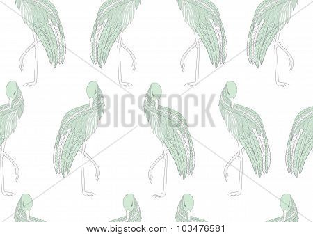 Vector seamless pattern with green birds.