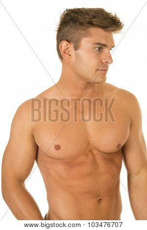 Shirtless Strong Man Upper Body Look Side