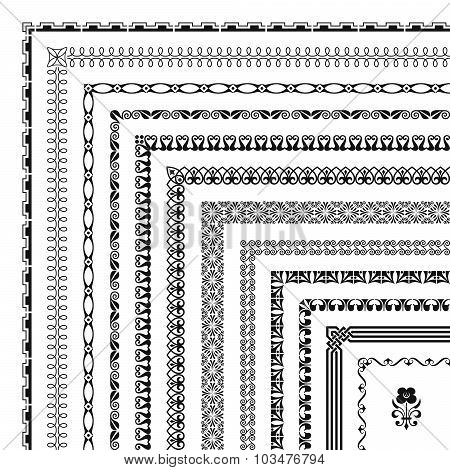 Large collection of seamlessly tiling borders and frames