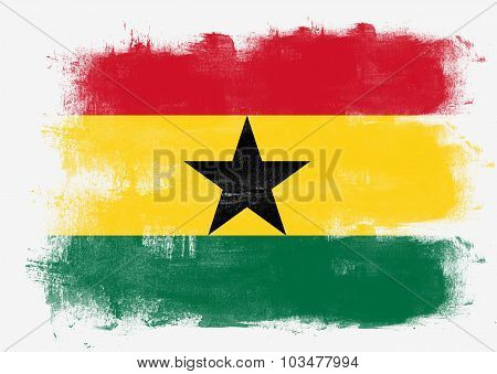 Flag Of Ghana Painted With Brush