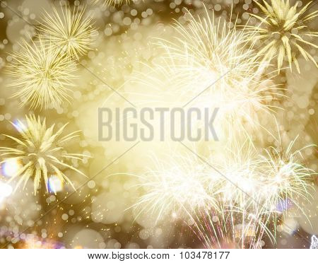 Abstract holiday background with fireworks and stars