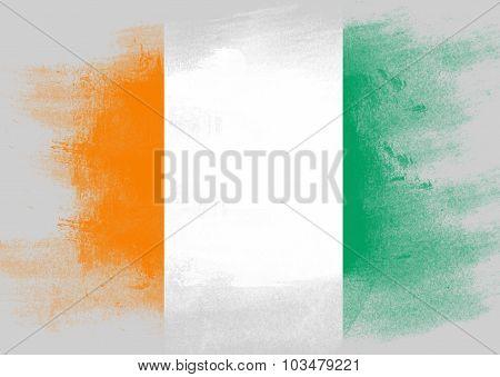 Flag Of Ivory Coast Painted With Brush