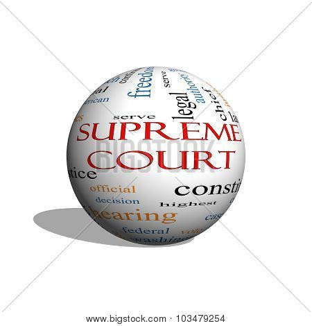 Supreme Court 3D Sphere Word Cloud Concept