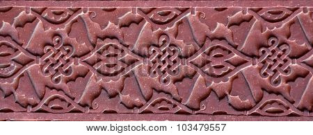 Stone Pattern On A Temple Wall In Red Fort, Agra