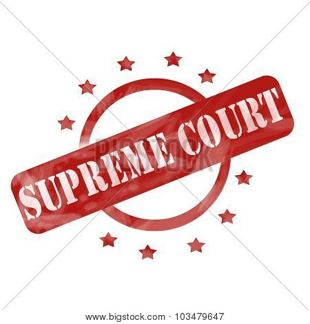 Red Weathered Supreme Court Stamp Circle And Stars Design