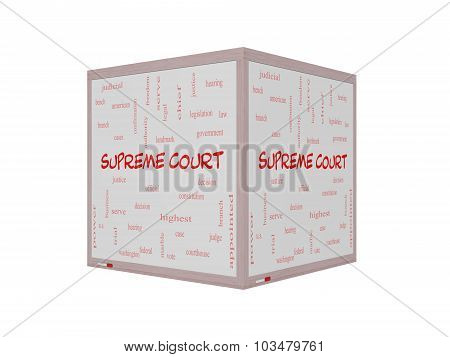 Supreme Court Word Cloud Concept On A 3D Whiteboard