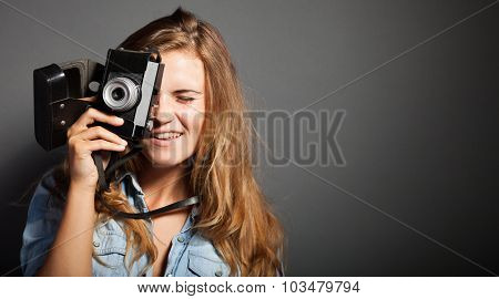 Smiling Photographer Woman Taking Pictures Old Camera