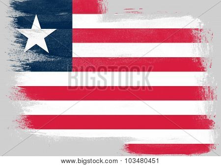 Flag Of Liberia Painted With Brush