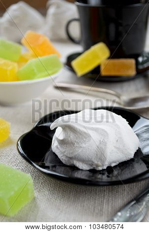 Vanilla marshmallow zephyr and fruit candies