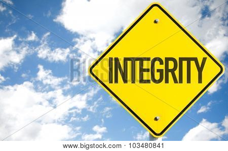 Integrity sign with sky background