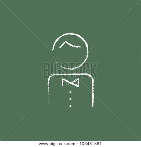 Waiter hand drawn in chalk on a blackboard vector white icon isolated on a green background.