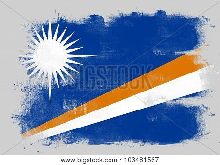 Flag Of Marshall Islands Painted With Brush