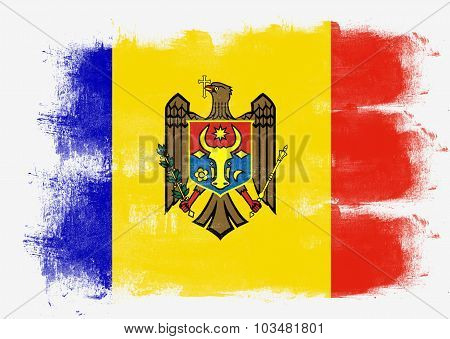 Flag Of Moldova Painted With Brush